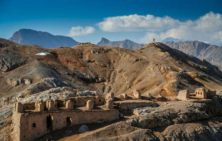 Interesting rock formations and mountains and ruins of the old temples near Towers of Silence on outskirts of the city of Yazd, Iran