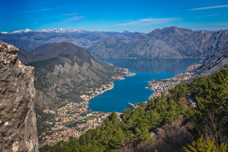 Photo pour Stunning landscape of the Bay of Kotor in Montenegro as seen from the road to Lovcen National Park - image libre de droit