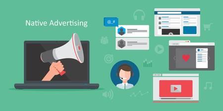 Ilustración de native advertsing concept vector illustration - Imagen libre de derechos