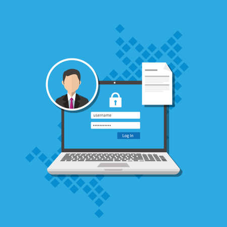 Ilustración de access management authorize software authentication login form system vector illustration - Imagen libre de derechos