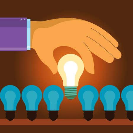 Illustration pour business hand choose idea light bulb - Illustration - image libre de droit