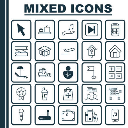 Set Of 25 Universal Editable Icons. Can Be Used For Web, Mobile And App Design. Includes Elements Such As Baggage Carousel, Relax Chair, Discussion And More.