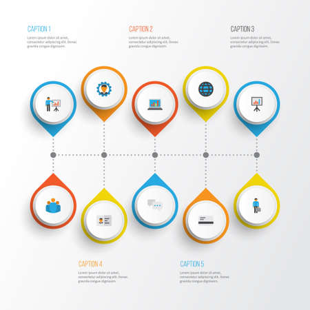 Illustration for Business Flat Icons Set. Collection Of Work Man, Chatting, Diagram And Other Elements. Also Includes Symbols Such As Identification, Laptop, Id. - Royalty Free Image