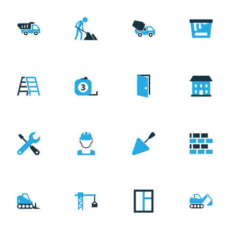 Illustration pour Architecture Colorful Icons Set. Collection Of Worker, Stairs, Putty Knife And Other Elements. Also Includes Symbols Such As Dozer, Tip, Equipment. - image libre de droit