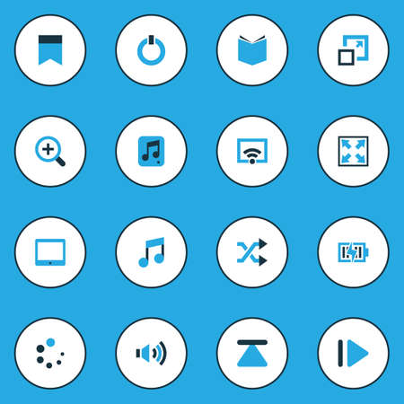 Ilustración de Multimedia Colorful Icons Set. Collection Of Power, Learning, Musical Note And Other Elements. Also Includes Symbols Such As Slow, Power, Pennant. - Imagen libre de derechos