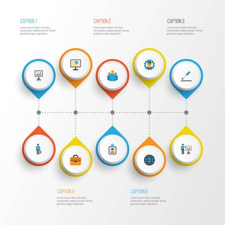 Illustration for Trade flat icons set. - Royalty Free Image