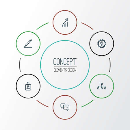 Ilustración de Job Outline Icons Set. Collection Of Identification, Structure, Growing Chart And Other Elements - Imagen libre de derechos