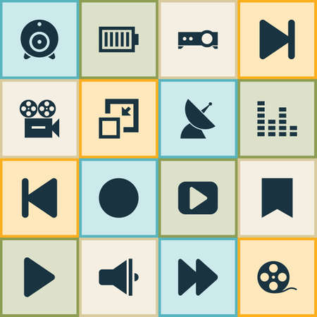 Photo for Media icons set with audio mixer, communication antenna, end and other play elements. Isolated illustration media icons. - Royalty Free Image