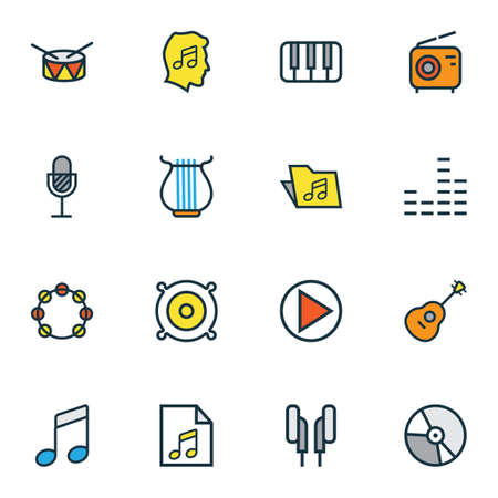 Photo for Audio icons colored line set with speaker, strings, vinyl and other mixer  elements. Isolated  illustration audio icons. - Royalty Free Image