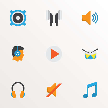 Photo for Audio icons flat style set with earpiece, ear muffs, silent and other band  elements. Isolated vector illustration audio icons. - Royalty Free Image