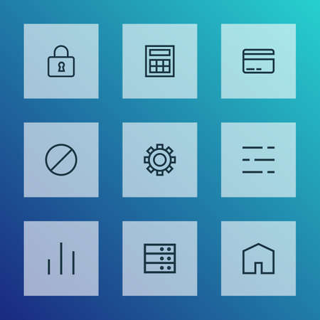 Foto de Interface icons line style set with datacenter, forbidden, column and other lock  elements. Isolated  illustration interface icons. - Imagen libre de derechos