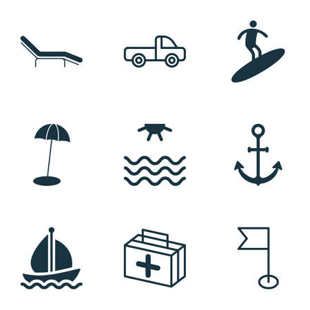 Foto de Travel icons set with sea, beach chair, beach umbrella and other boardsports  elements. Isolated  illustration travel icons. - Imagen libre de derechos
