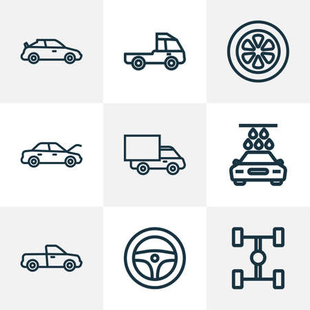 Illustration pour Auto icons line style set with tie, hood, wheelbase and other crossover  elements. Isolated vector illustration auto icons. - image libre de droit