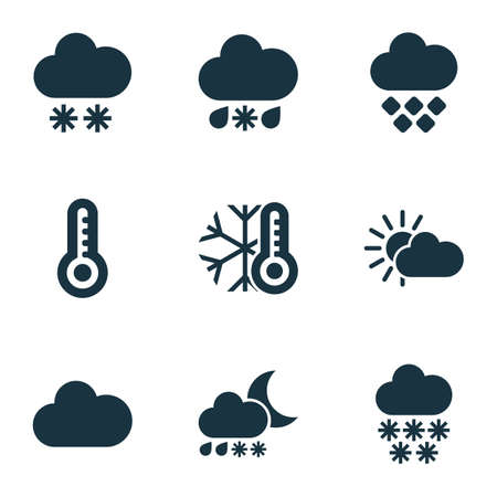 Illustration pour Weather icons set with heavy sleet night, winter, snowfall and other temperature   elements. Isolated vector illustration weather icons. - image libre de droit
