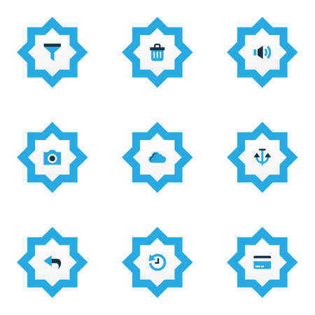 Foto de User icons colored set with filter, trash can, cloud and other volume  elements. Isolated  illustration user icons. - Imagen libre de derechos