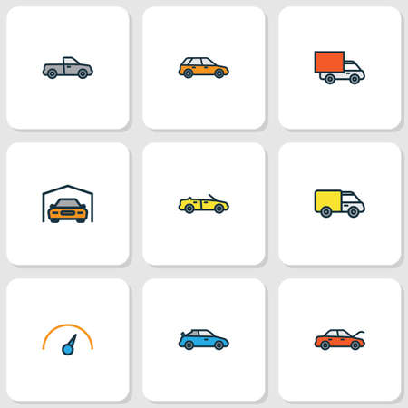 Illustration pour Auto icons colored line set with hood, cabriolet, sport and other shed  elements. Isolated vector illustration auto icons. - image libre de droit