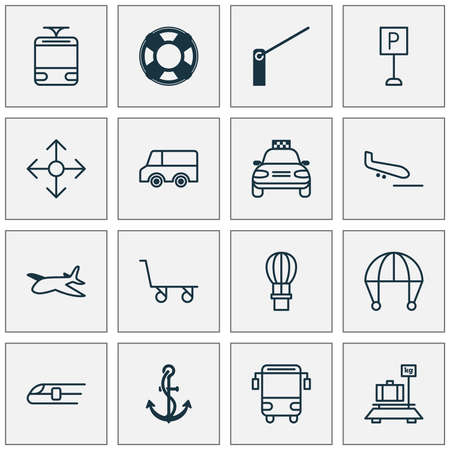 Foto de Delivery icons set with school bus, navigation, tram and other metro  elements. Isolated  illustration delivery icons. - Imagen libre de derechos
