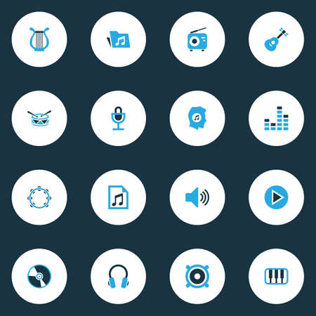 Photo for Multimedia icons colored set with sound, cd, tuner and other speaker elements. Isolated illustration multimedia icons. - Royalty Free Image
