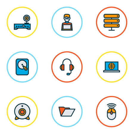 Foto de Computer icons colored line set with headphones, internet, hard disk and other camera  elements. Isolated  illustration computer icons. - Imagen libre de derechos