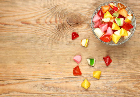 Photo for Still life, food and drink, holidays concept. Colorful sweet candies. Copy space background, selective focus, top view. Traditional candies for Seker Bayram holiday - Royalty Free Image