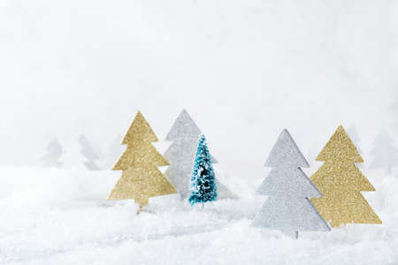 Foto de New year holiday concept. White winter snow christmas forest for greeting card. Copy space background - Imagen libre de derechos
