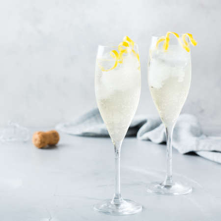 Photo for Food and drink, party holiday concept. Alcohol beverage cold cool champagne cocktail drink on a modern table for summer days - Royalty Free Image
