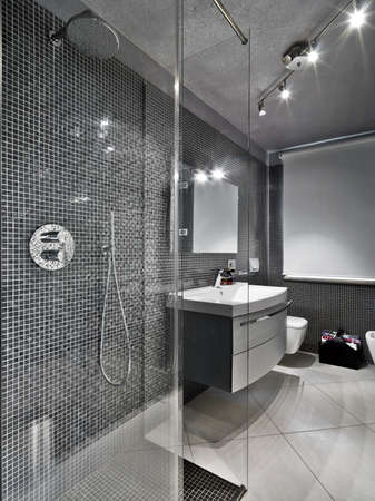 modern bathroom with glass shower cubicule