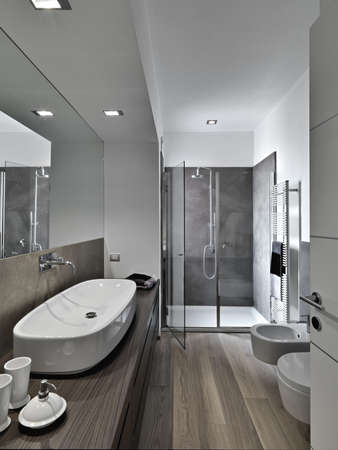 shower cubicle and washbasin a modern bathroom
