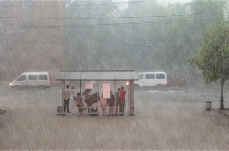 Photo for Crowd of people are hiding from heavy rain at a stop in the city - Royalty Free Image