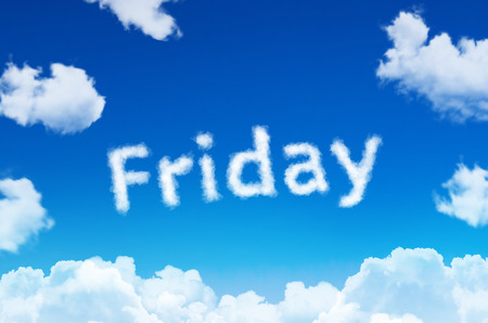 Days of the week - friday cloud word with a blue sky
