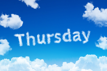 Days of the week - thursday cloud word with a blue sky
