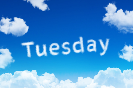 Days of the week - tuesday cloud word with a blue sky