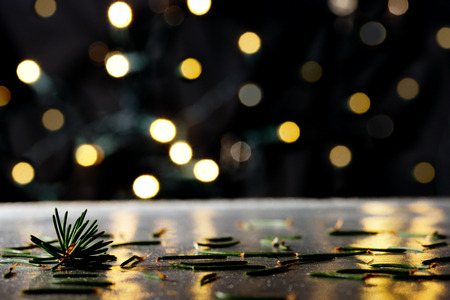 Photo for Christmas background with needles and color llights - Royalty Free Image