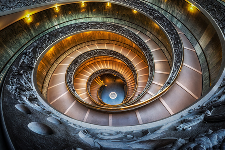 Photo pour Vatican museum spiral staircase taken with fisheyes lens. Taken in Vatican, Italy - image libre de droit