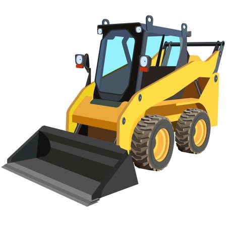 Photo pour yellow truck with a scraper to lift cargo - image libre de droit