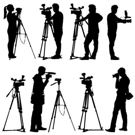 Ilustración de Cameraman with video camera Silhouettes on white background - Imagen libre de derechos