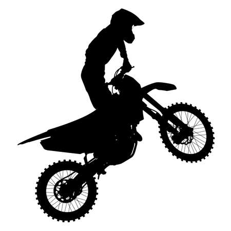 Illustration pour Black silhouettes Motocross rider on a motorcycle. Vector illustrations. - image libre de droit