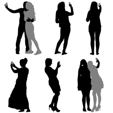 Illustration for Silhouettes  man and woman taking selfie with smartphone on white background. Vector illustration. - Royalty Free Image