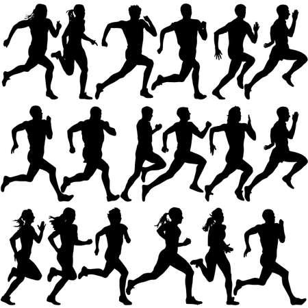 Ilustración de Set of silhouettes. Runners on sprint, men. vector illustration. - Imagen libre de derechos