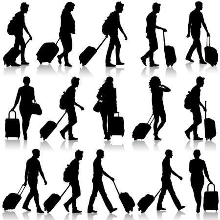 Illustration pour Black silhouettes travelers with suitcases on white background. Vector illustration. - image libre de droit