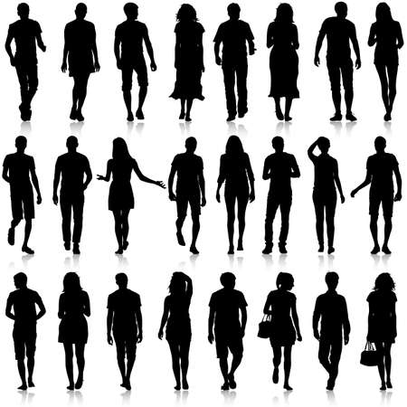 Illustration pour Black silhouettes of beautiful mans and womans on white background. Vector illustration. - image libre de droit