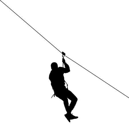 Ilustración de Silhouette of a man riding a zip line - Imagen libre de derechos