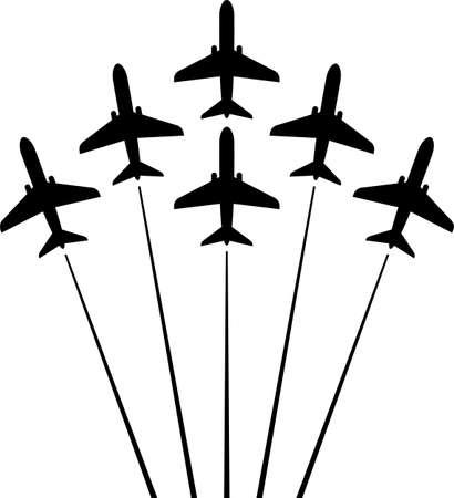 Ilustración de Airplane Flying Formation, Air Show Display, The Disciplined Flight Art Illustration. - Imagen libre de derechos