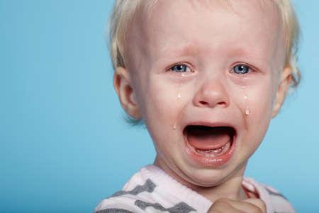 Photo pour photo of little cute child with tears on face - image libre de droit