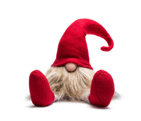 Photo for Red sitting christmas elf with pointed cap isolated as template - Royalty Free Image