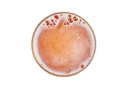 Photo for Beer in glass. Beer foam with bubble. View from above. - Royalty Free Image