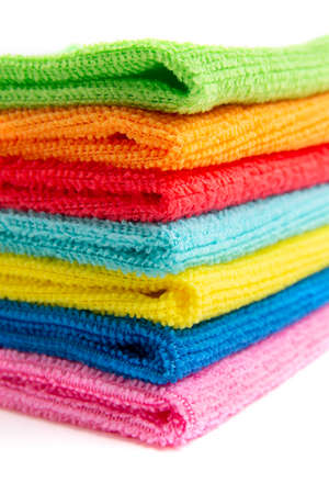 Foto de colored microfiber cloths on a white background - Imagen libre de derechos
