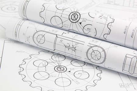 Foto de rolls paper engineering drawings of mechanisms and machine - Imagen libre de derechos