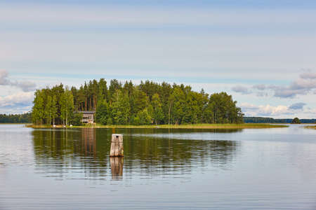 Photo for Finland landscape with lake forest island and lake. Finnish summer - Royalty Free Image