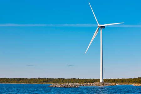 Foto de Wind turbine in the baltic sea. Renewable green energy. Finland - Imagen libre de derechos